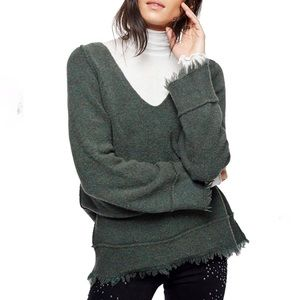 Free People Green Irresistible Fringe Sweater S